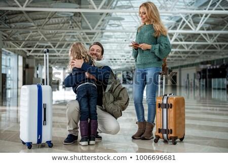 aile · havaalanı · genç · bekleme · yatılı · kadın - stok fotoğraf © lightfieldstudios