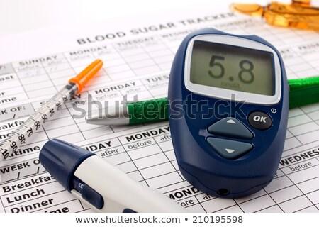 close up of glucometer insulin pen and syringe stock photo © dolgachov