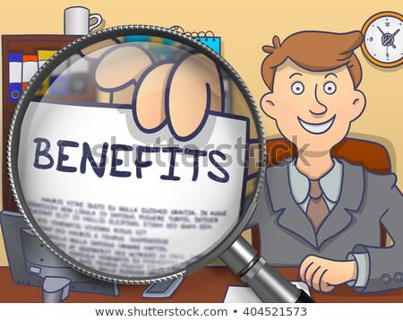 benefits through magnifying glass doodle style stock photo © tashatuvango