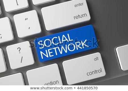 ストックフォト: ソーシャルネットワーク · クローズアップ · キーボード · 3D · 白 · 選択