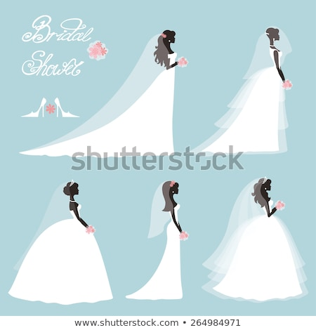 Bride Silhouette with Wedding Flowers Stock photo © Krisdog