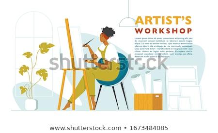 месте Top мнение ноутбука Живопись инструменты Сток-фото © Sonya_illustrations