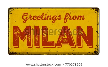 Stockfoto: Vintage · metaal · teken · witte · milaan