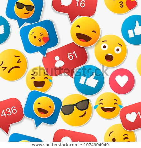 pattern of emoticons stickers emoji smile faces on a black background stock photo © ikopylov