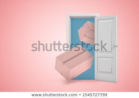 ilustração · 3d · rosa · recipiente · porta · isolado - foto stock © anadmist