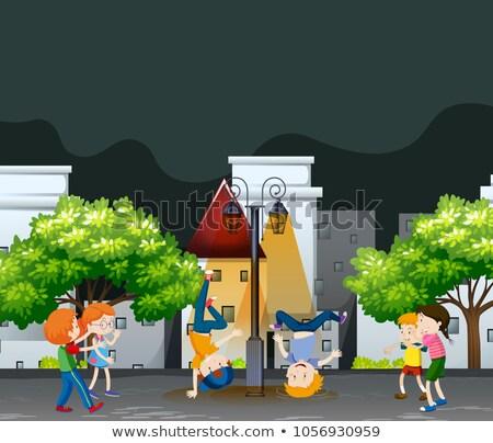 Many kids dancing in the neighborhood park Stock photo © bluering