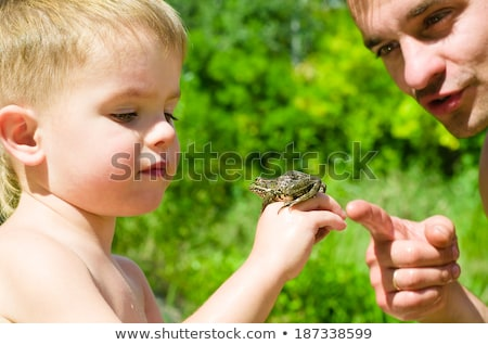 Boy looking at toad Stock photo © IS2