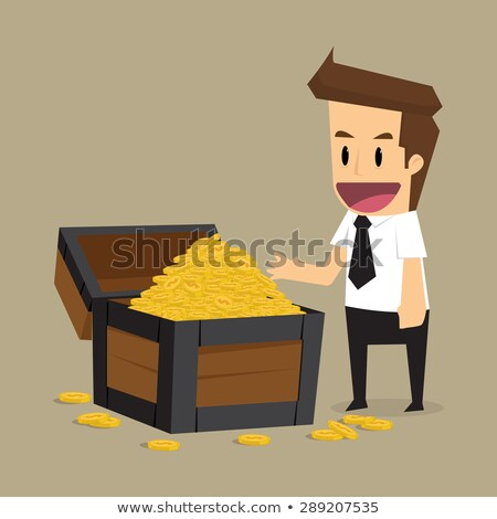 Człowiek skarb biznesmen ilustracja podniecony Zdjęcia stock © lenm
