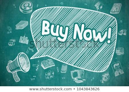 buy online   hand drawn illustration on blue chalkboard stock photo © tashatuvango