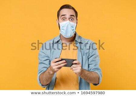 Modern health concept: Virus on Yellow Wall . Stock photo © tashatuvango