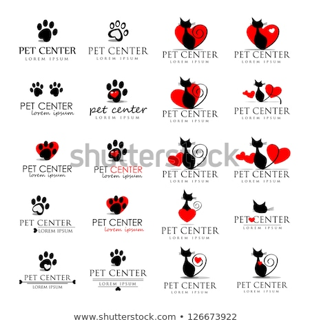 черно белые любви животные кость сердце лапа Сток-фото © hittoon