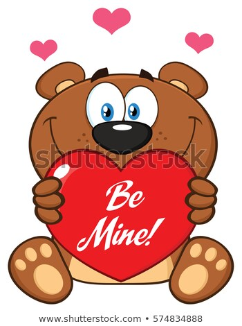 Cute brun Nounours mascotte dessinée personnage Photo stock © hittoon