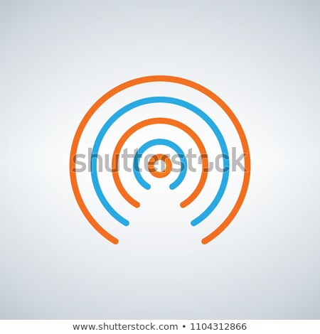 wifi signal circle waves icon vector flat design style in blue and orange colors isolated on modern stock photo © kyryloff
