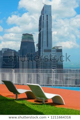 Dek stoelen Singapore centrum dak Stockfoto © joyr