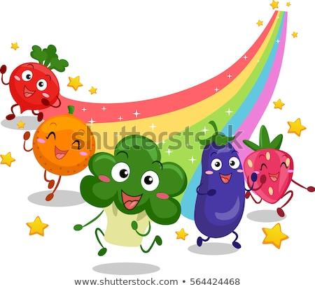 Fruits Veggies Mascot Run Rainbow Trail Stock photo © lenm