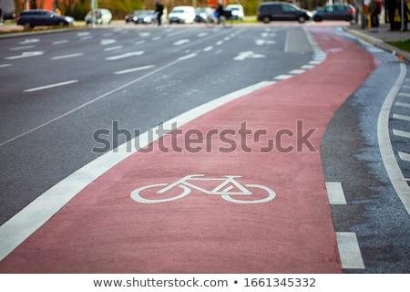 bicicleta · assinar · pintado · rua · estrada - foto stock © pedrosala