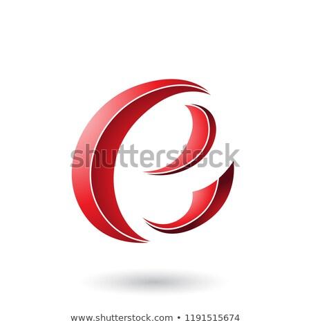 Kırmızı çizgili hilâl biçim vektör Stok fotoğraf © cidepix