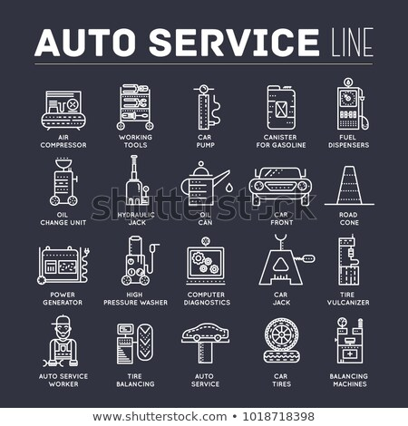 auto service with text concept. Thin line icons with flat background design. Worker mechanic repairs stock photo © Linetale