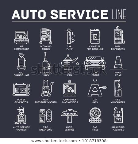 Auto dienst tekst dun lijn iconen Stockfoto © Linetale