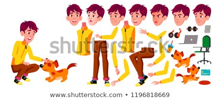 Teen Boy Vector. Animation Creation Set. Face Emotions, Gestures. Active, Expression. Animated. For  Stock photo © pikepicture