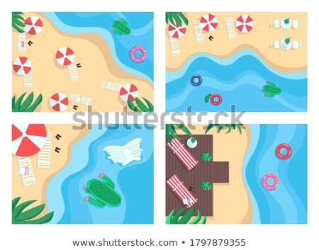 Zomertijd paradijs ingesteld vector zanderig stranden Stockfoto © robuart