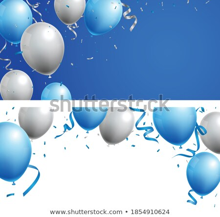 Celebration party banner. Blue and silver flag garland. Vector illustration Stock photo © olehsvetiukha