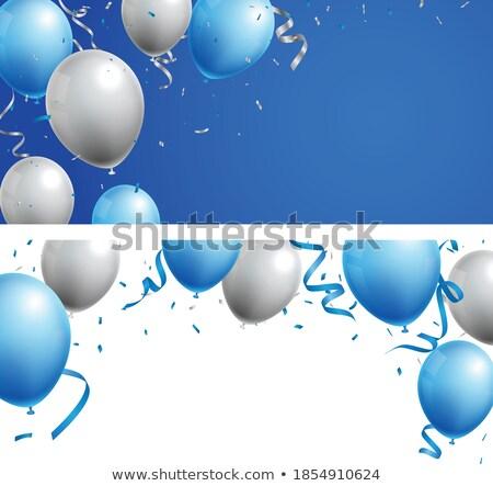 празднования вечеринка баннер синий серебро флаг Сток-фото © olehsvetiukha