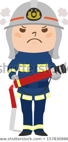 Desenho animado zangado bombeiro menino olhando Foto stock © cthoman