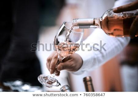 Gelukkig man glas wijnfles grappig pak Stockfoto © ichiosea