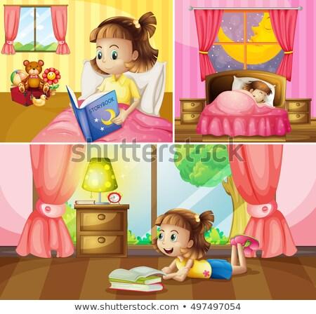 Meisje verschillend activiteiten home illustratie kind Stockfoto © colematt