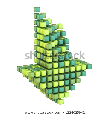 Download arrow made of different green cubes 3D stock photo © djmilic