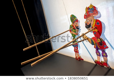 Pálcikaember kéz báb színház mosoly buli Stock fotó © Ustofre9