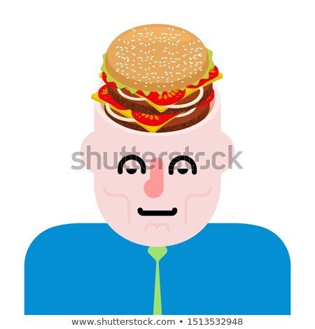 Burger in open head. Fast food is on mind. Hamburger in brains Stock photo © MaryValery
