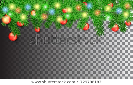 Transparent Christmas garland with colorful bauble Stock photo © cienpies