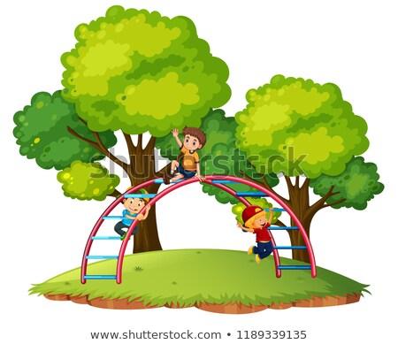 Garçons jouer équipement illustration heureux fond Photo stock © colematt