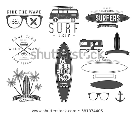 Vintage surfing graphics and emblems set for web design or print. Surfer logo templates. Surf Badges Stock photo © JeksonGraphics