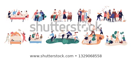 family happy parents pictures vector illustration stock photo © robuart