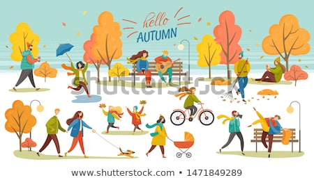 Couple with Perambulator Walking in Park Vector Stock photo © robuart