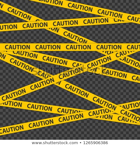 Caution tape. Police streak border. Black and yellow caution tape on transparent background. stock photo © AisberG