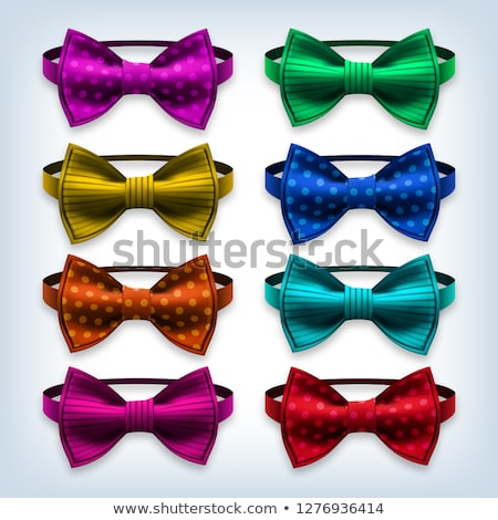 bow tie set vector hipster gentleman realistic knot silk bow elegance formal suit bowtie fashio stock photo © pikepicture