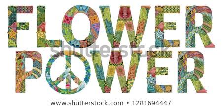 retro · flower · power · cobrir · cd · lp · música - foto stock © natalia_1947