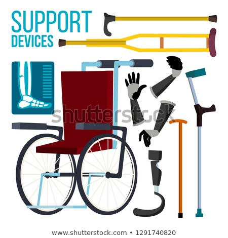 Support Devices Vector. Wheelchair. Amputation Prosthesis. Isolated Flat Cartoon Illustration Stock photo © pikepicture