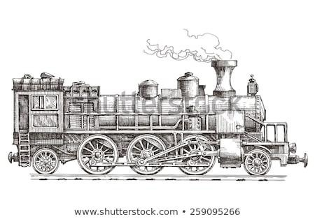 Foto stock: Vintage · locomotiva · rabisco · ícone