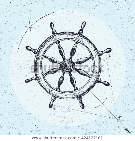 Ship steering wheel hand drawn outline doodle icon. Stock photo © RAStudio