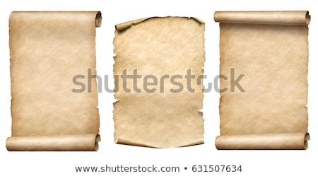 három · ősi · tekercsek · kinyitott · különböző · pozíciók - stock fotó © colematt