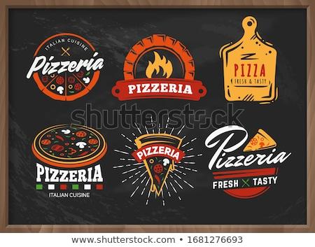 vector · pizza · bandera · italiana · alimentos · restaurante · verde - foto stock © netkov1