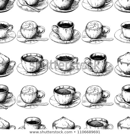 Sketch different mug of coffee on a saucer. Seamless pattern. Stock photo © Arkadivna