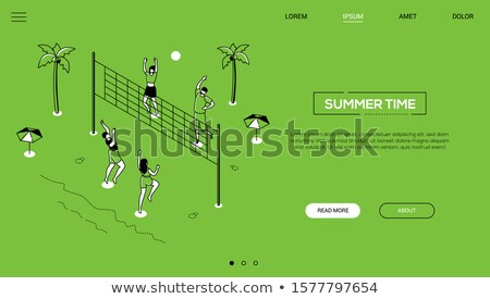 Men playing volleyball - flat design style colorful illustration Stock photo © Decorwithme