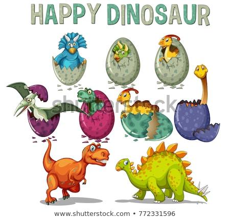 Happy dinosaur hatching egg Stock photo © colematt