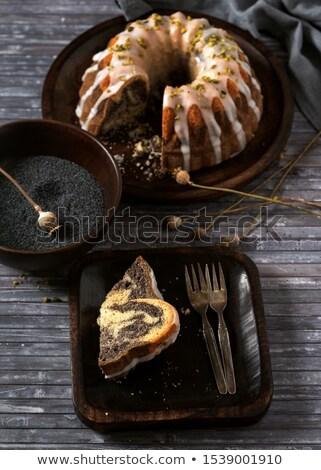 レモン コーヒー フォーカス ケーキ 素朴な 食品 ストックフォト © zoryanchik
